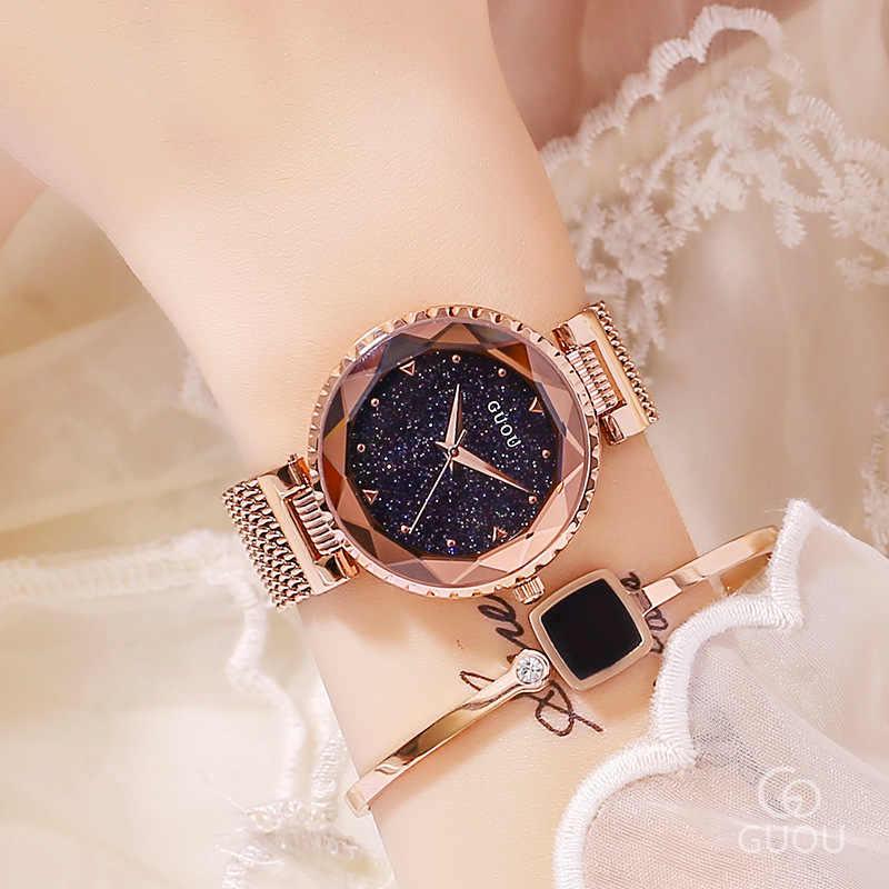 Top marque or Rose Quartz montres femmes en acier inoxydable montre-bracelet horloge de luxe dames cristal montre robe montre montre femme