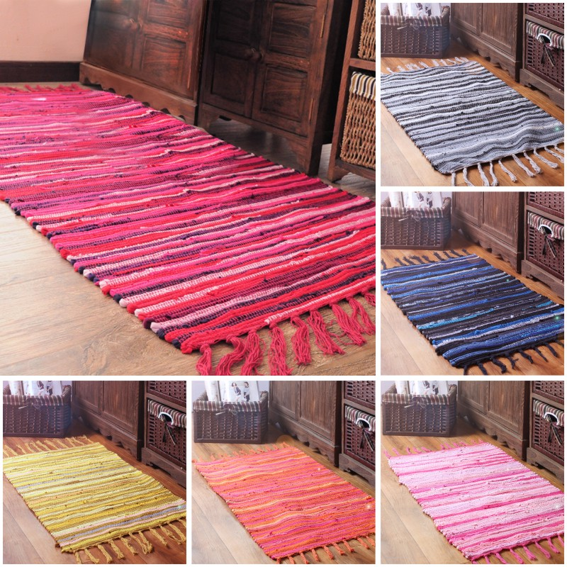 Organic Cotton Belgium Linen Bath Rug: Handwoven Natural Linen Cotton Colorful Mat For Kids Room