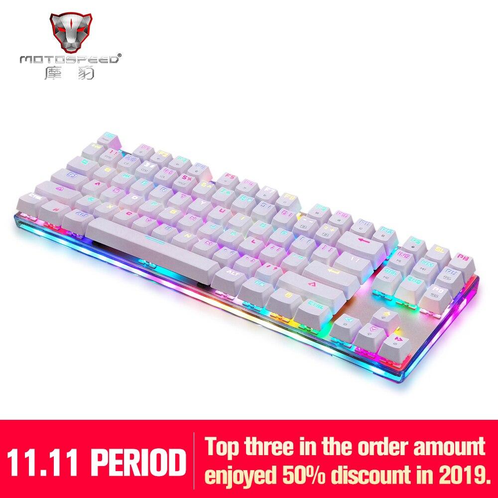 NEUE Motospeed K87S USB Verdrahtete Mechanische Tastatur Blau Schalter Gamer Tastatur mit RGB Hintergrundbeleuchtung 87 Tasten für PC Computer Gaming