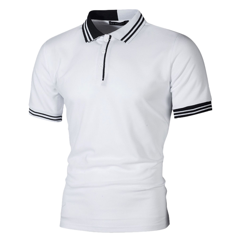 New Men   Polo   Shirt Men Business & Casual Pactwork Male   Polo   Shirt Gray White Short Sleeve Breathable Shirt Men Plus Size T7