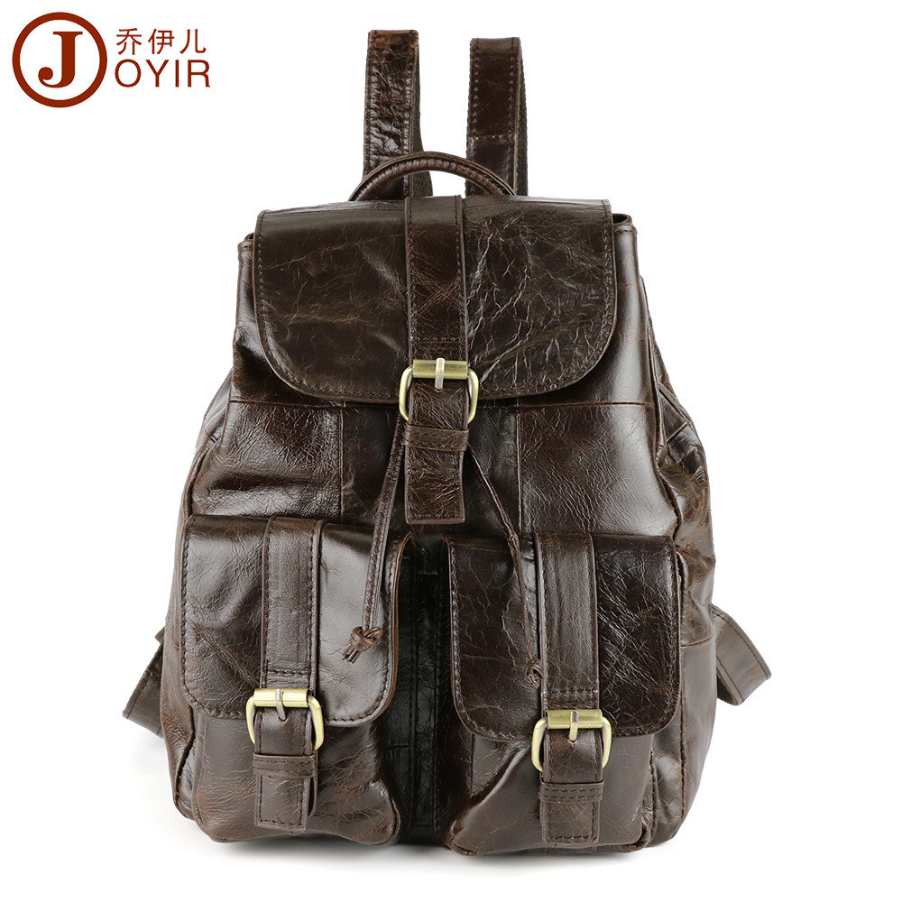 JOYIR 2017 Fashion Genuine Leather women backpack vintage wax oil school girl shoulder bag backpacks ladies shopping travel bags aequeen womens backpacks nylon backpack shoulder bags fashion ladies small ruck school for girls travelling shopping bag
