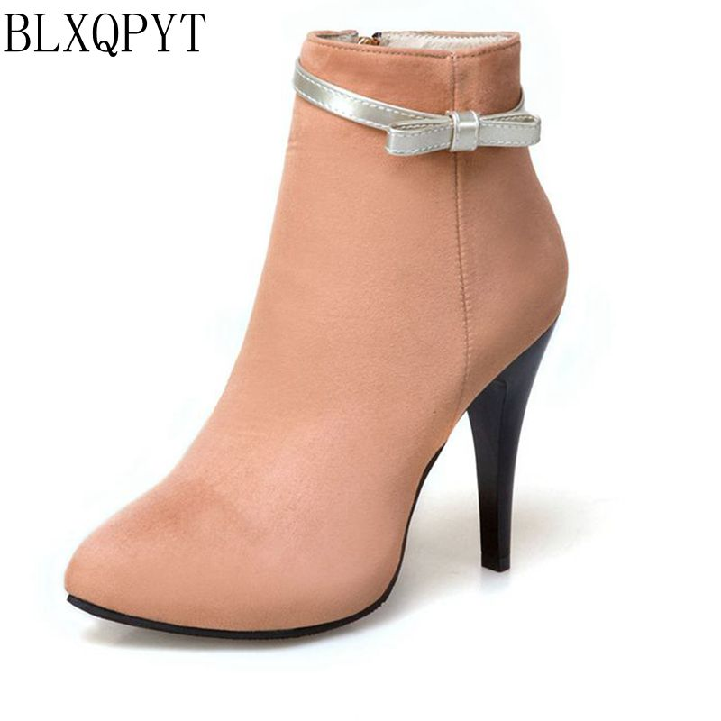 BLXQPYT New Big Size 33-50 Women High Heels ankle Short boots Autumn Winter Shoes Pointed Toe Platform Knight Martin Boots 2-5 kemekiss winter women round toe ankle boots high heels lace up shoes double buckle platform short martin booties size 33 43