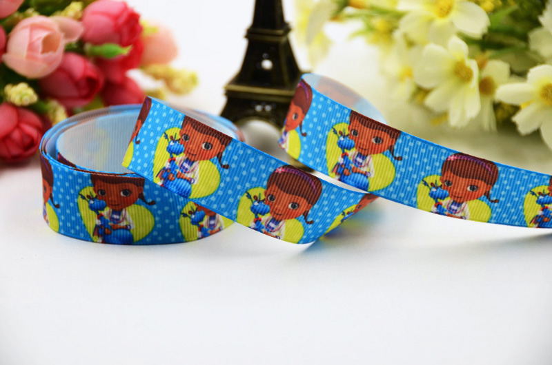 7/8 (22mm) Doc McStuffins Cartoon Character printed Grosgrain Ribbon satin ribbons Party decoration OEM X-00384 10 Yards