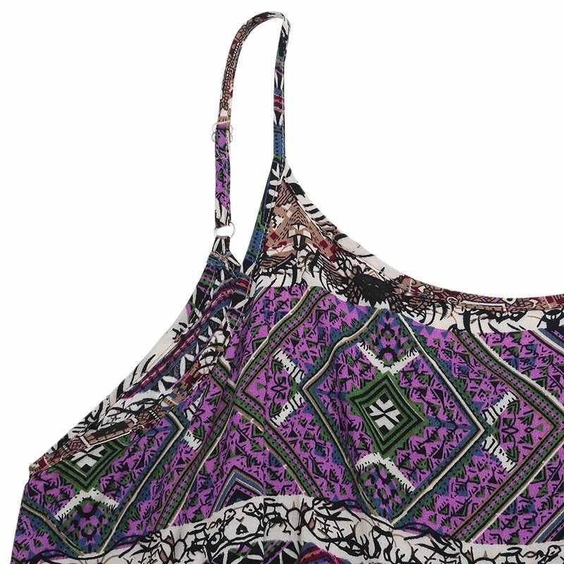 Vestidos 2019 여름 zanzea 여성 비치 캐주얼 드레스 빈티지 프린트 섹시한 strapless 민소매 루스 맥시 롱 드레스 pus 사이즈