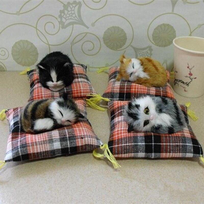 ZILIN simulační kočka s polštářem / mini spící kočičí / auto dekorace dětský dárek 12 * 11 * 2cm