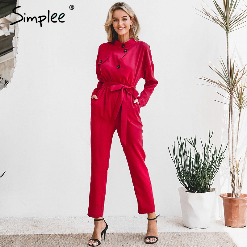 Simplee Long sleeve stand neck women   jumpsuit   Elegant sash female casual   jumpsuit   romper Solid red ladies overalls long   jumpsuit