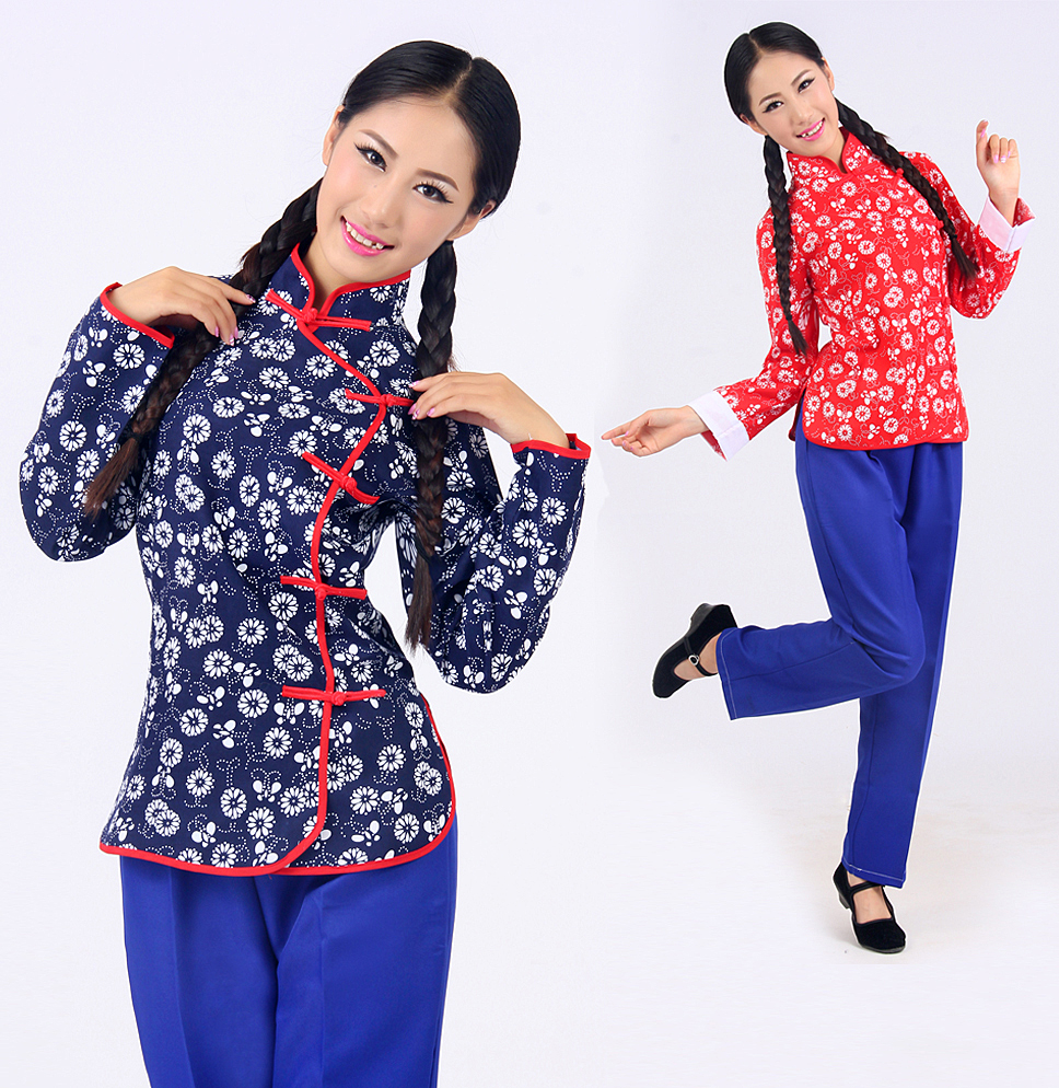 Disfraces Dance Costumes Hmong Clothes Chinese Drama For Five Four Young Students Qingsao Clothing Cotton Picking Floral Dress