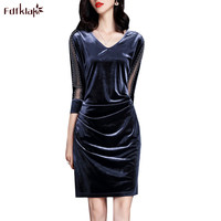 Fdfklak Women Dress Spring Summer Dress Female Big Size Vestido Gold Velvet Sexy Short Party Dresses