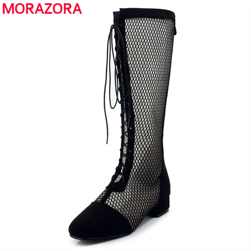 MORAZORA Plus size 33-43 fashion summer boots lace up cut outs knee high boots women black casual lady womens sandals shoes 2018 new plus big size 32 46 black brown gray red lace up zip cut outs sexy female lady over the knee women summer boots x1633