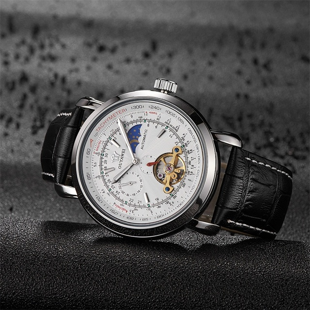 OUYAWEI Men's Wrist Watch Luxury Tourbillon Moon Phase Automatic Mechanical White Dial  Reloj Hombre Automatico