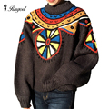 Colorful Crochet Oversized Sweater Women Knitwear and Pullovers Round Pattern Batwing Sleeve Tricot Christmas Sweaters Winter
