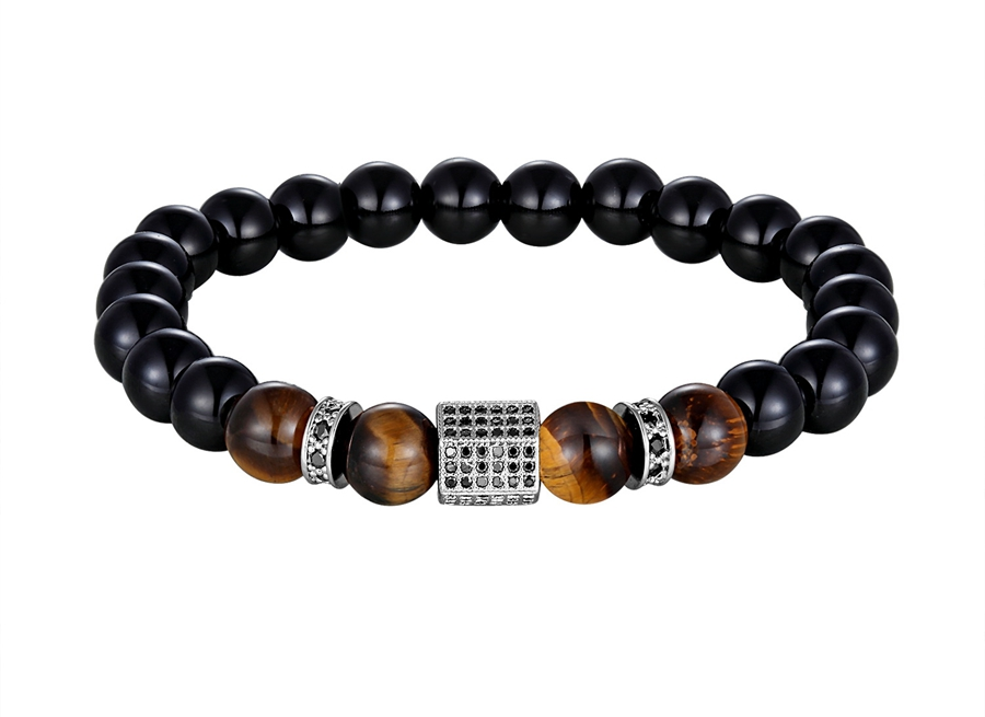XQNI Matte Onyx Stone&Tiger Eye Combination Stitching with Cubic Zircon Hand Jewelry Beads Bracelet Elastic Stretch Men Bracelet