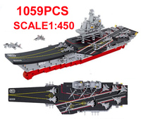 1059pcs 1:450 scale military Aircraft carrier fighting Building Block Sets Educational assembled Toys for children