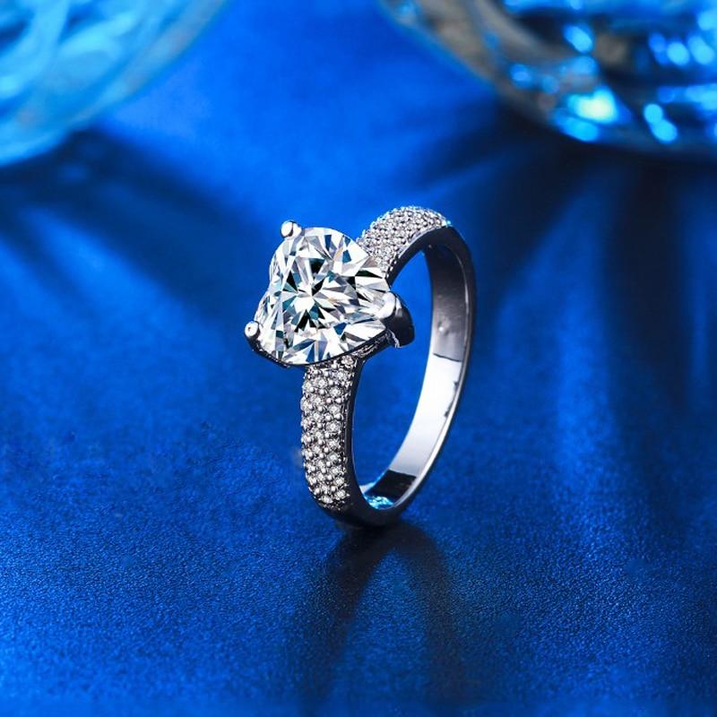 stor hjärta sten 3 karat kristall smycken förlovning vigselringar - Märkessmycken - Foto 6