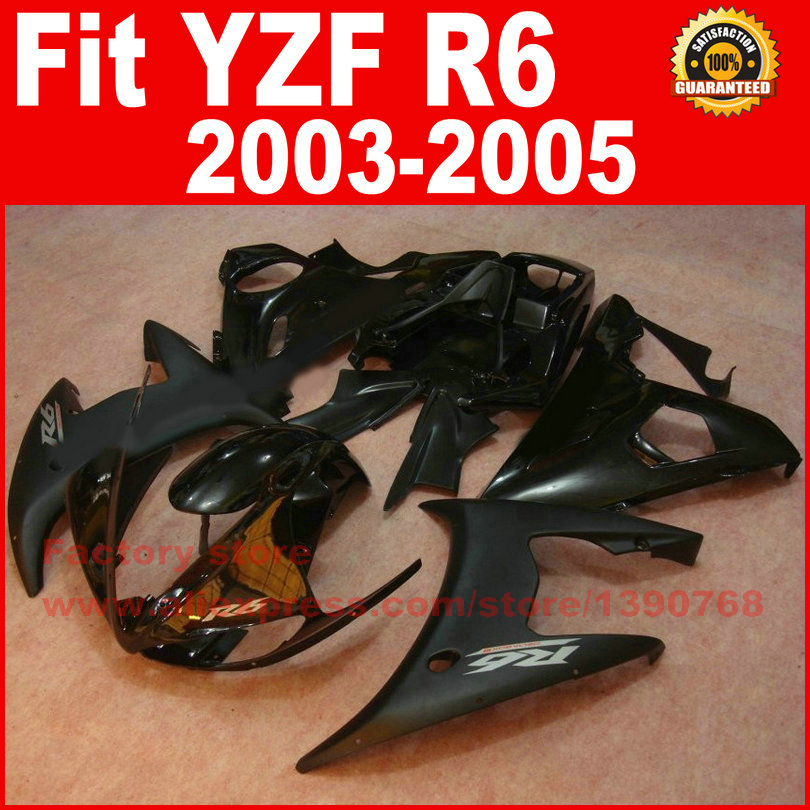 High quality Motorcycle body fairings kit for YAMAHA R6 2003 2004 2005 YZF R6 03 04 05 all black fairing motorcycle front brake discs rotor for yamaha yzf r6 2003 2004 2005 yzf r1 03 04 05 gold