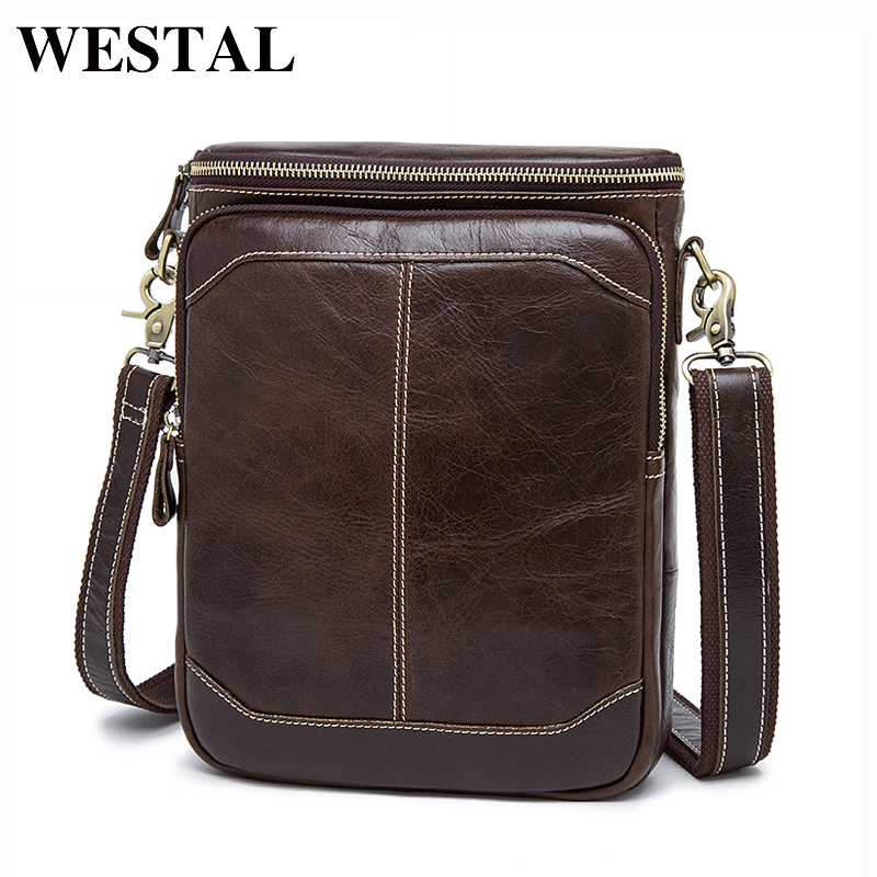 WESTAL Men's Genuine Leather Bags male men Crossbody bags Casual small Messenger bag men's shoulder bag for men leather 8003 neweekend genuine leather bag men bags shoulder crossbody bags messenger small flap casual handbags male leather bag new 5867