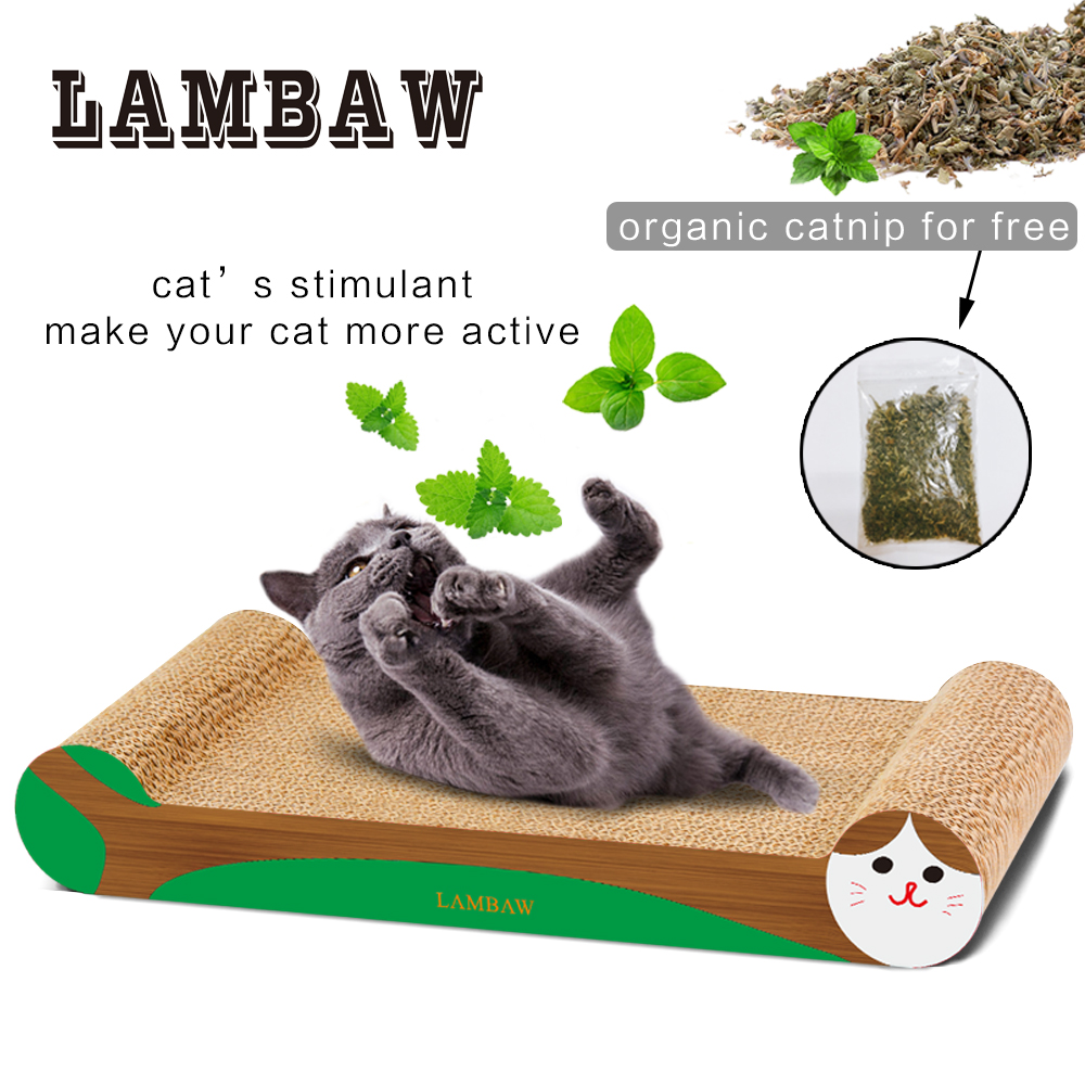 Cat Scratcher Sofa Couch Cardboard Paper High Quality Cat Toy Scratching Pad-Wooden Grenn Color