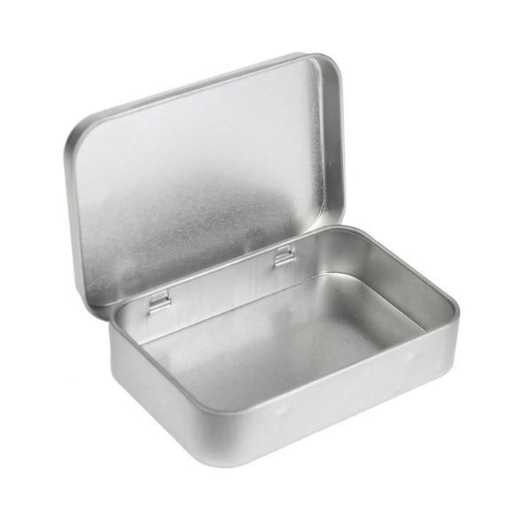Tin Mailbox: 100pcs Plain Silver Tin Box 8.8x6x1.8cm, Rectangle Tea