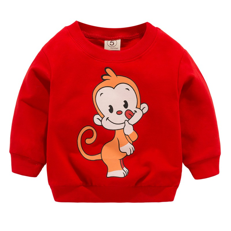 2019 Lente Herfst Sweatshirts Kids Shirts Peuter Jongens Meisjes Lange Mouwen Cartoon Monkey Geel Tops Kinderen Kleding 0-3 T Catalogi Worden Op Verzoek Verzonden
