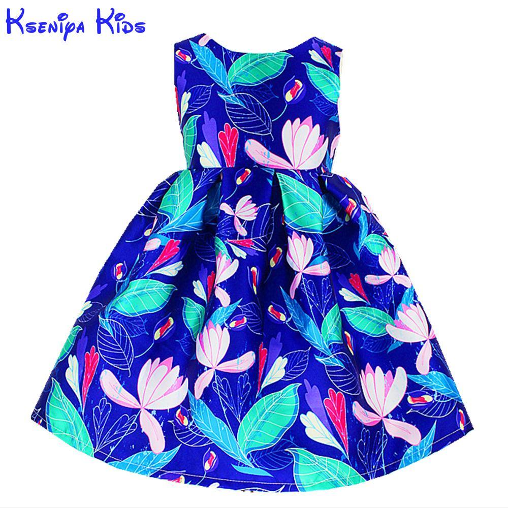 Kseniya Kids Chinese Style Girl Dress Flower Pattern Dresses For Girls New Year 2017 Alg5116