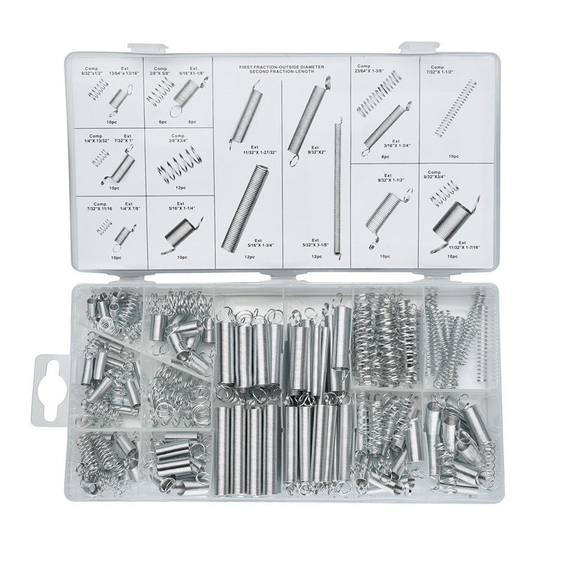 200PCS/set hardware Tension spring compression spring set 20 Size in box Springs Assortment hardware small parts sets 200pcs set flexible springs 20 sizes practical metal tension compresion springs assortment spring stack