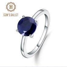Edelstein der Ballett 2,57 Ct Natürliche Blaue Saphir 925 Sterling Silber Edelstein Solitaire Hochzeit Engagement Ringe Für Frauen Edlen Schmuck