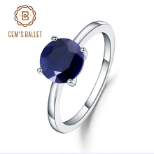 Gems Ballet 2.57Ct Natural Blue Sapphire 925 Sterling Silver Gemstone Solitaire Wedding Engagement Rings For Women Fine Jewelry