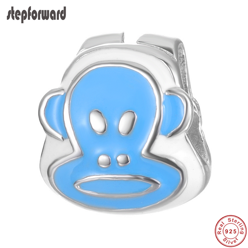Realistic Handmade Diy Cute Animal Monkey Design Fashion Jewelry Enamel 925 Sterling Silver Monkey Charm Pendant Lovely Unique Jewelry Beads & Jewelry Making
