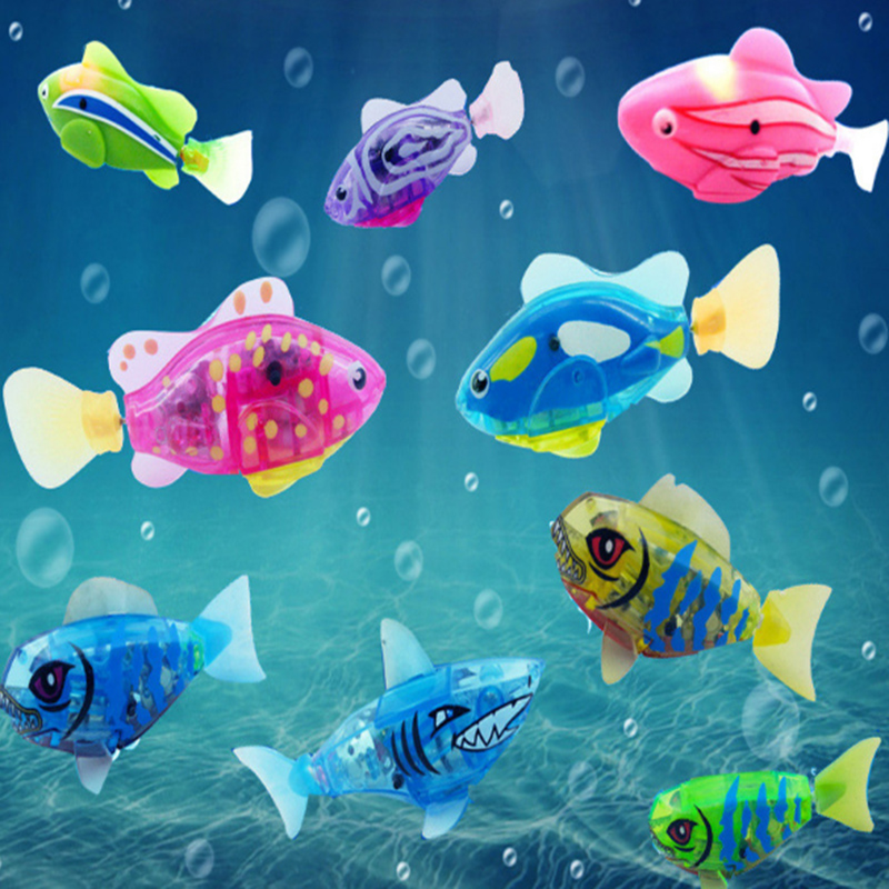 Robotic fish activated battery powered swimming boy bath for Swimming fish cat toy