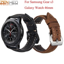 Leather Bracelet for Samsung Gear S3 Frontier band Galaxy watch 46mm strap smart watch 22mm watchband S3 Classic Accessories