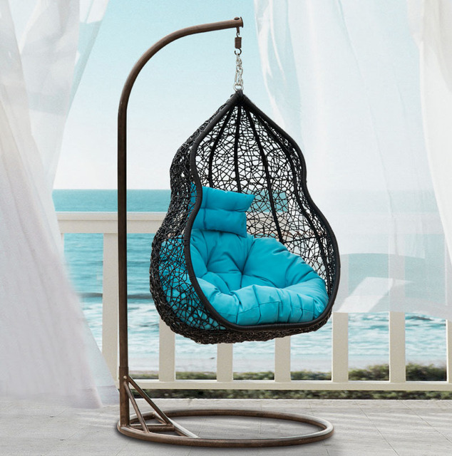 Modern Style Multicolor PE Rattan Swing Chair,Garden Wicker Hanging Chair  Patio Hand Woven