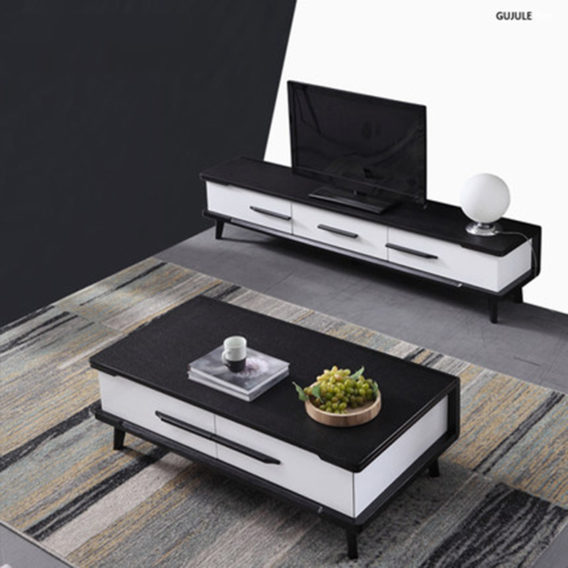 Furniture Parlor marble combination Wood TV cabinet coffee table furniture parlor marble combination wood adjustable tv cabinet coffee table