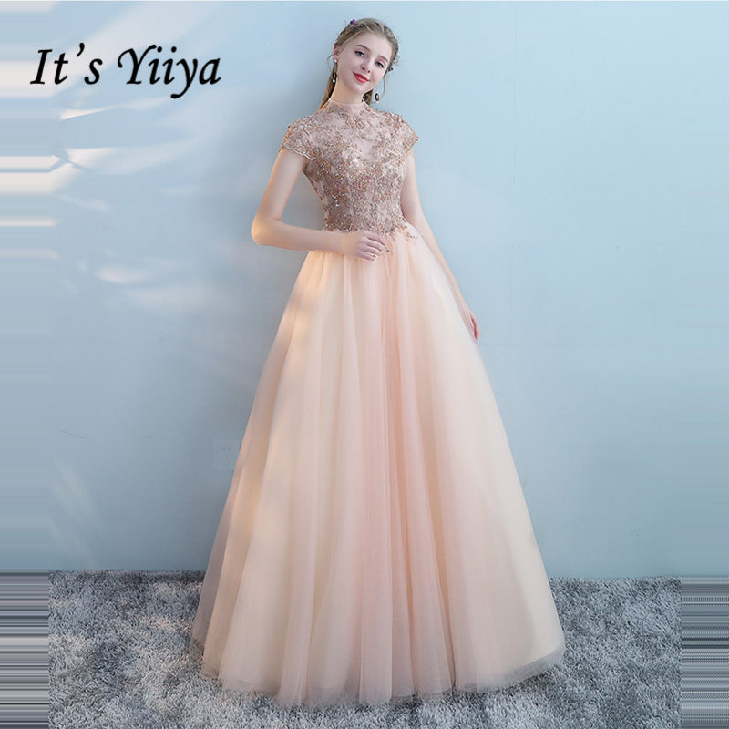 It's Yiiya Formal   Evening     Dresses   Short Sleeve Lace Up Backless Flower Floor Length Bling Sequined Formal   Dress   LX1000