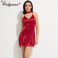 Colysmo Women Sexy Deep V Neck Back Strappy Cross Choker Neck Silk Satin Slip Dress A