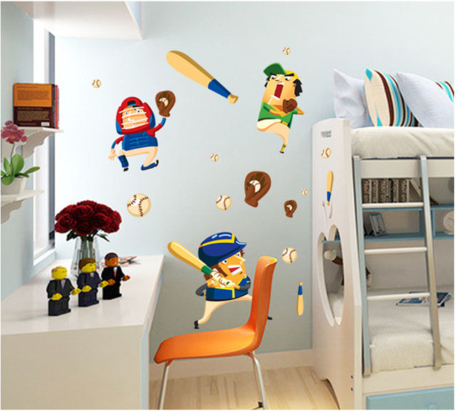 Saturday Mall Cartoon Baseball Kid Wall Stickers For Kids Rooms