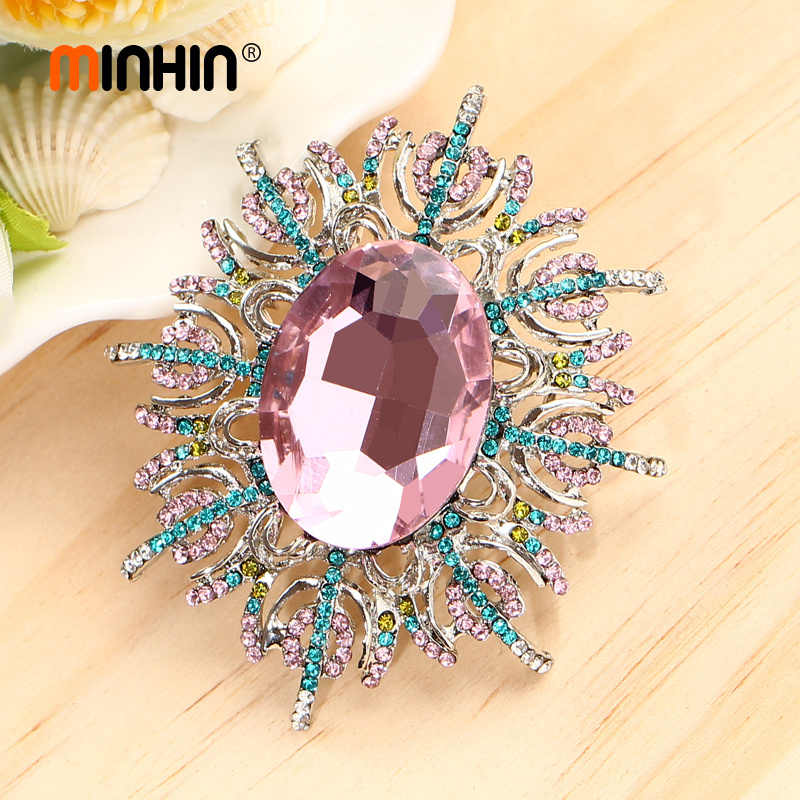 MINHIN Vintage Big Crystal Flower Brooch Pins Women Luxury Rhinestone Gold Silver Large Brooches Corsages Wedding Accessories