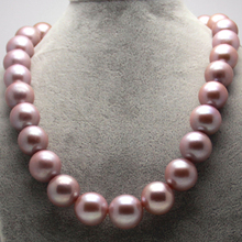 Collectible Edison 14-19mm purple pink gold mixed color natural pearl necklace round with genuine certificate
