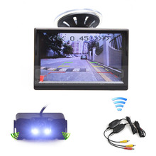 DIYKIT Wireless 5 Inch TFT LCD Display Car Monitor + Waterproof Parking Radar Sensor Car Rear View Camera