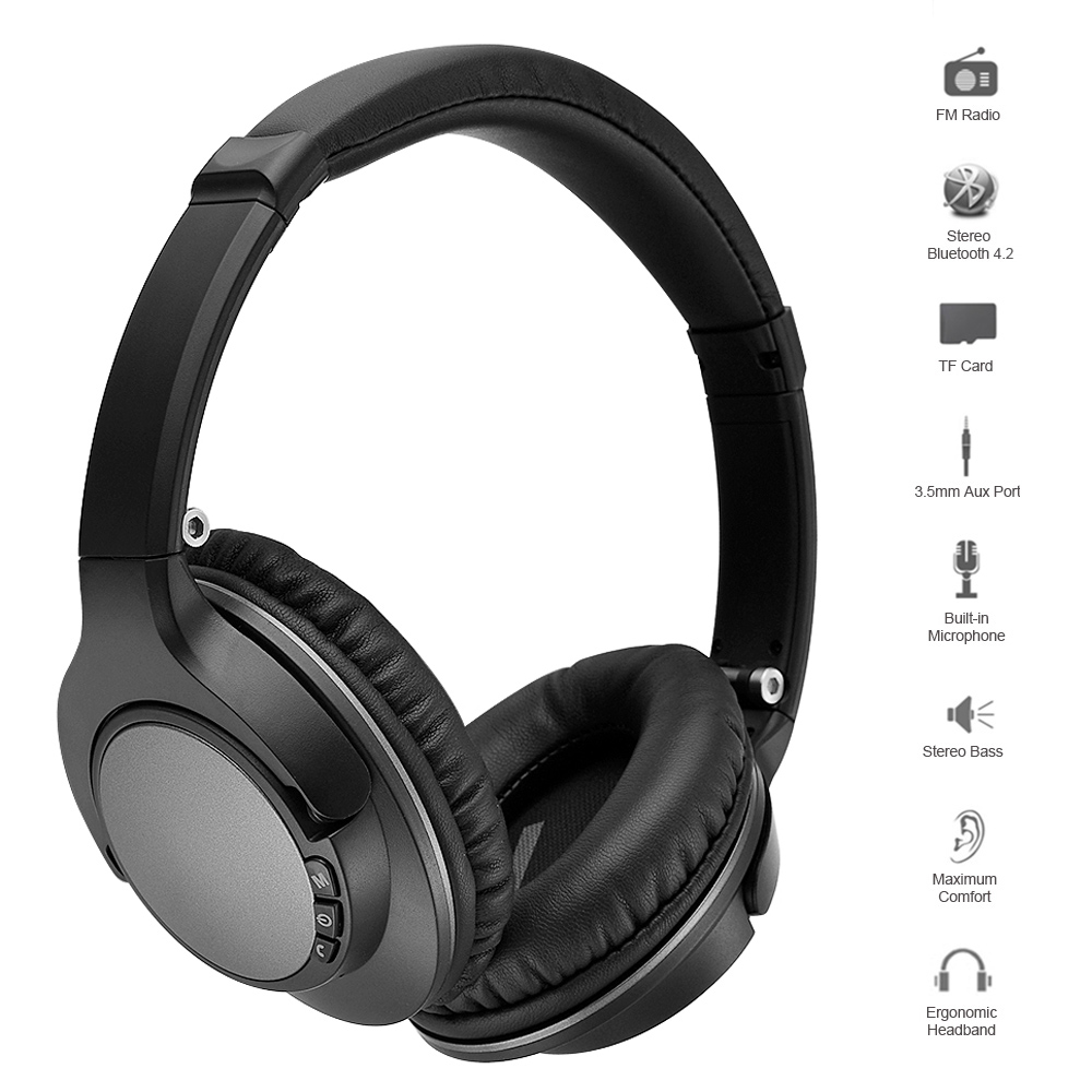Bluetooth Headphones Wireless Stereo Muisc Earphone Foldable Headset FM Radio 3.5mm AUX In TF Card Slot w/ Microphone