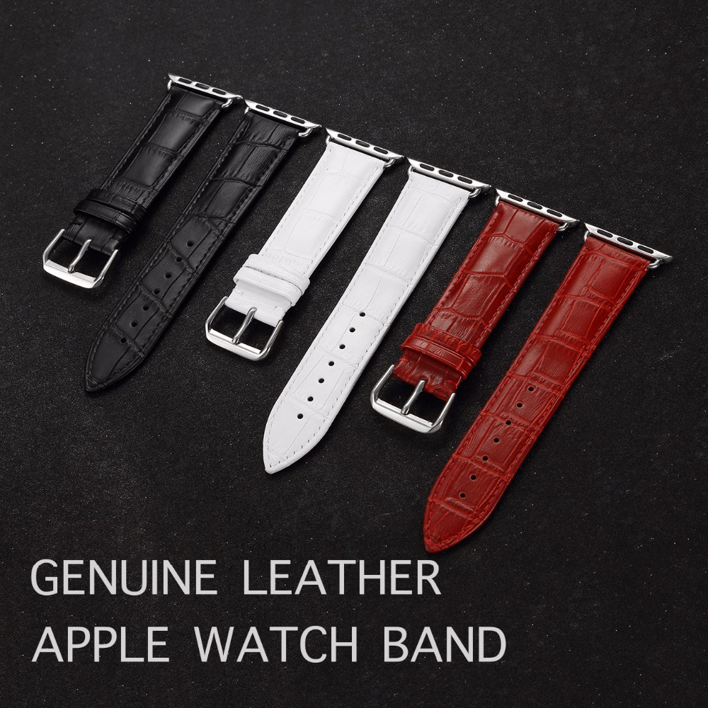 Genuine Leather Watch Band For Apple Watch 38mm 42mm series 1 2 3 Watch Bands Classic Style High Quality Leather Straps genuine leather classic buckle watch straps wrist band for apple watch 42mm red