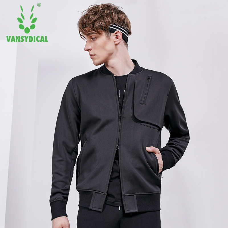 Vansydical Autumn Winter Men's Sports Running Jackets Tops Long Sleeve Two-way Zipper Outdoor Fitness Workout Jogging Coat