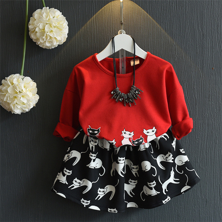 Girls spring autumn clothing set kids cartoon cat printed red hoodies and cute black skirt 2pcs princess baby clothes children 309767xc corsage flower printed hoodies clothing wholesale 0 8