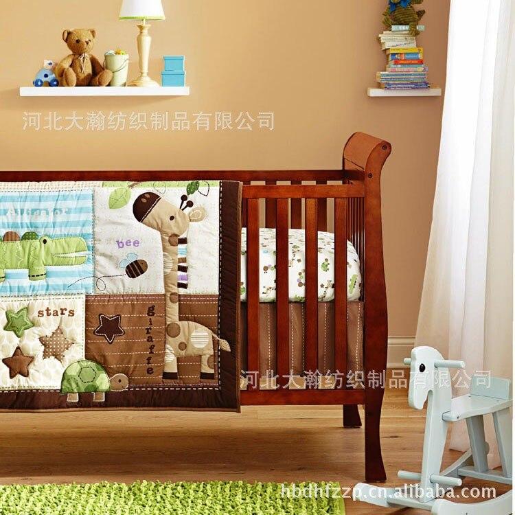 Discount! 6pcs Giraffe 100% Cotton Baby Bedding Set Baby Crib Set Cartoon ,include(bumper+duvet+bed cover)