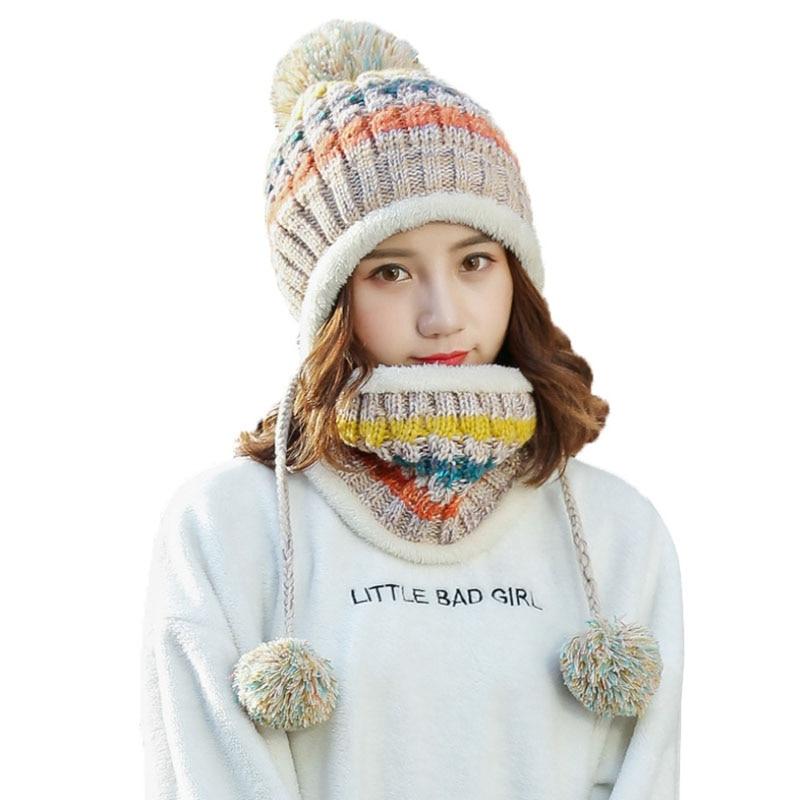 Women Plus Velvet Knitted Hat Scarf Set Autumn Winter Thick   Beanie   Baggy Girls Warm Fleece Ski Cap Fashion Neckerchief Scarves
