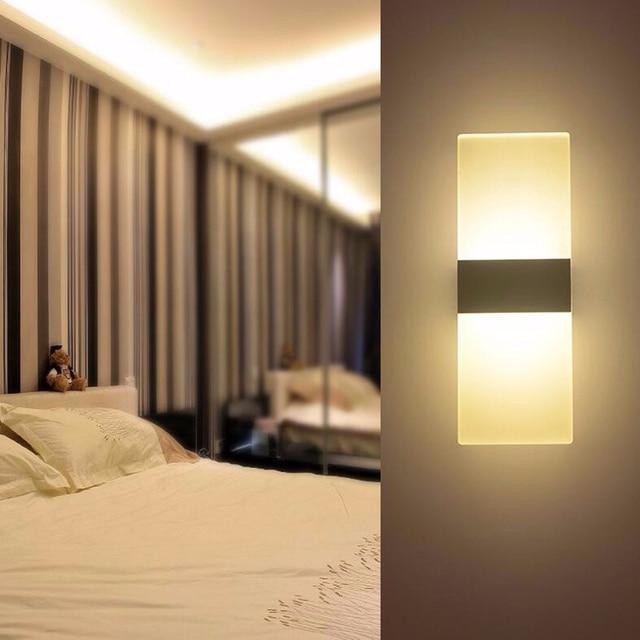 US $24.5 30% OFF|Modernen Stil 12 Watt Acryl Montiert Wandleuchte LED  Wandleuchte Schlafzimmer Bad Licht für Hotel Treppen Gang Treppen Licht ...
