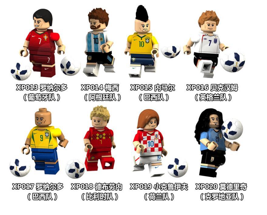 8pcs Football Game Football Player Messi/Ronaldo/Neymar Minifigured Building Blocks Figure Bricks Compatible With Bela