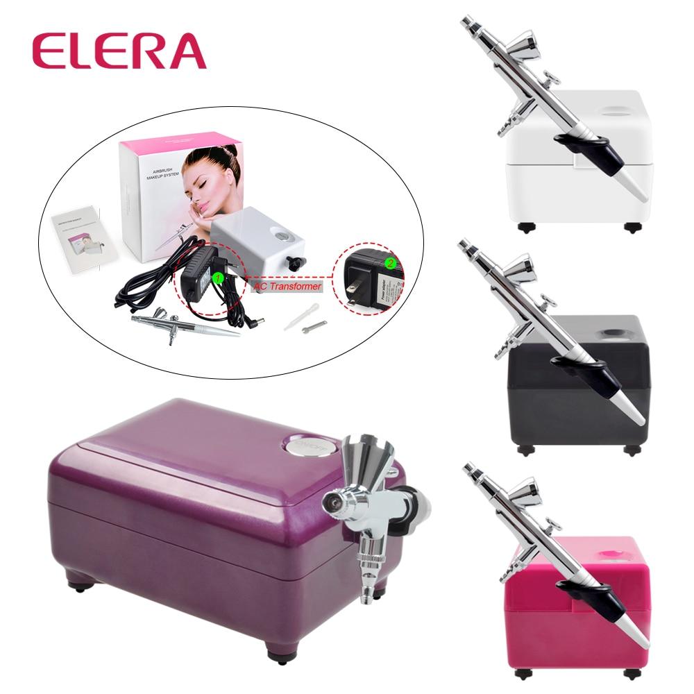 ELERA Аэрограф компрессор комплект Портативный татуировки составляют украшения торта Аэрограф Воздушный компрессор для ногтей Книги по иску...
