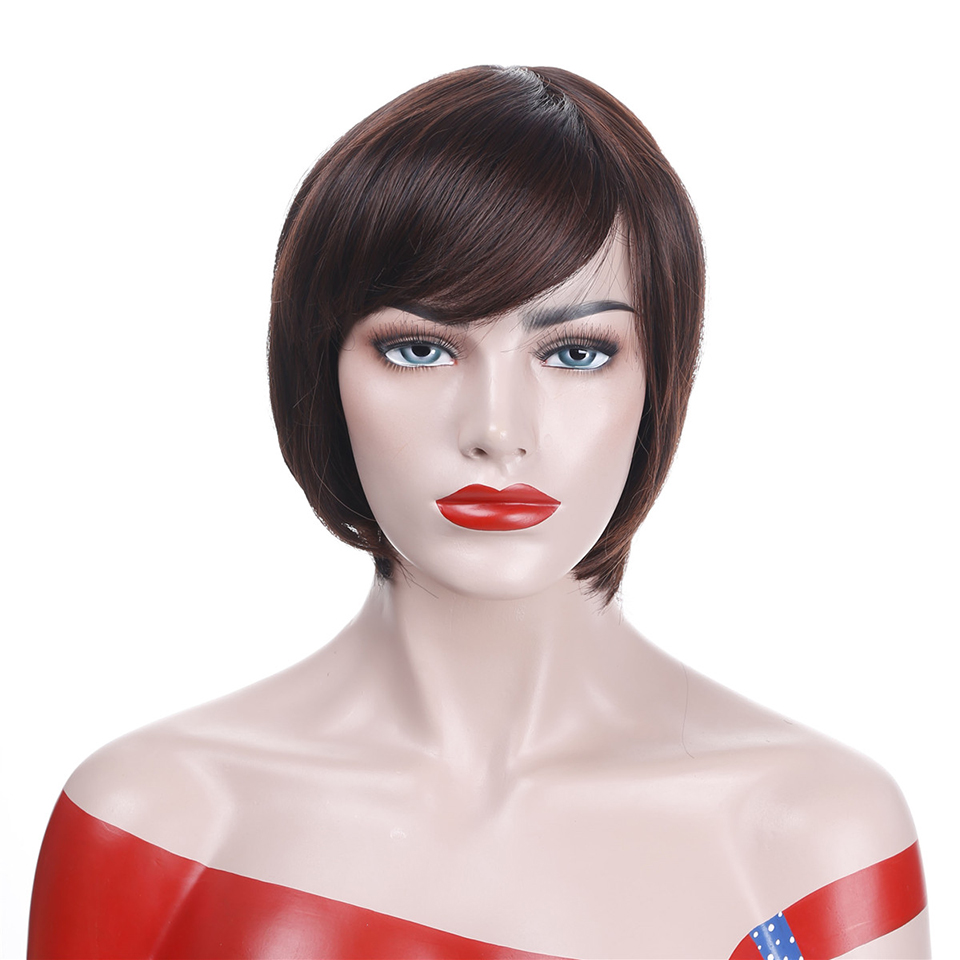 Allaosify Short Straight Black Wigs for Women Synthetic Heat Resistant Side Bangs Costume Cosplay Wig