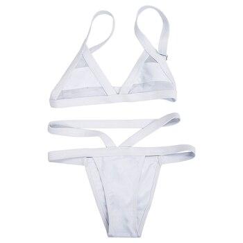 Stylish Women's Solid Color Spaghetti Strap Bikini Set white-M