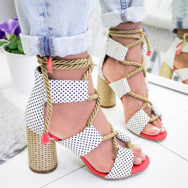 Women Pumps Lace Up High Heels Women Gladiator Sandals For Party Wedding Shoes Woman Summer Sandals Thick Heels Chaussures Femme 4